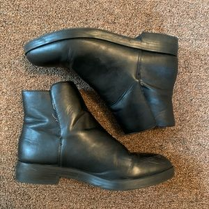 UO flat black leather booties